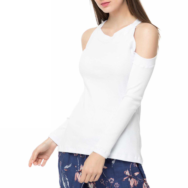 f47e57ea92e0 -40% MYMOO – Γυναικεία μακρυμάνικη μπλούζα με ανοιχτούς ώμους MYMOO λευκή