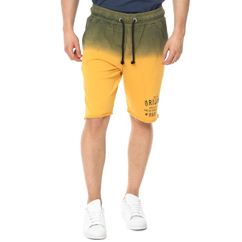 BODYTALK - Ανδρική βερμούδα ORIGINS BODYTALK πράσινη-πορτοκαλί ανδρικά ρούχα σορτς βερμούδες αθλητικά