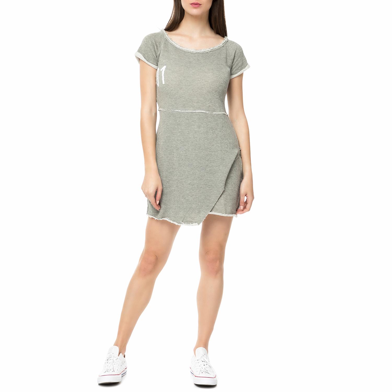 BODYTALK - Γυναικείο κοντομάνικο φόρεμα RUMORSWΑΜΑΝ γκρι γυναικεία ρούχα φορέματα μίνι