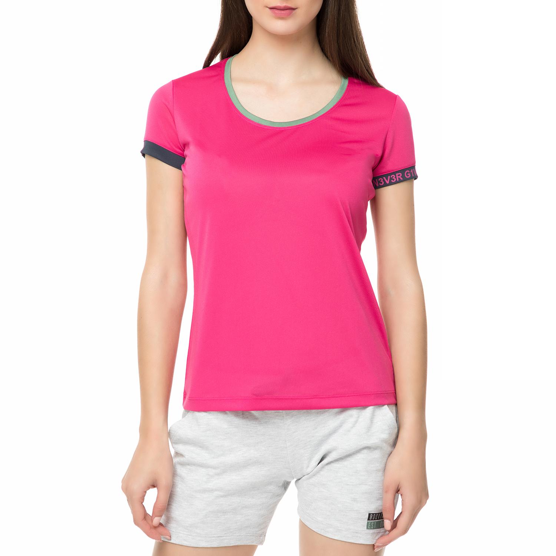 BODYTALK - Γυναικεία κοντομάνικη μπλούζα NEVERGIVEUPW φούξια γυναικεία ρούχα αθλητικά t shirt τοπ