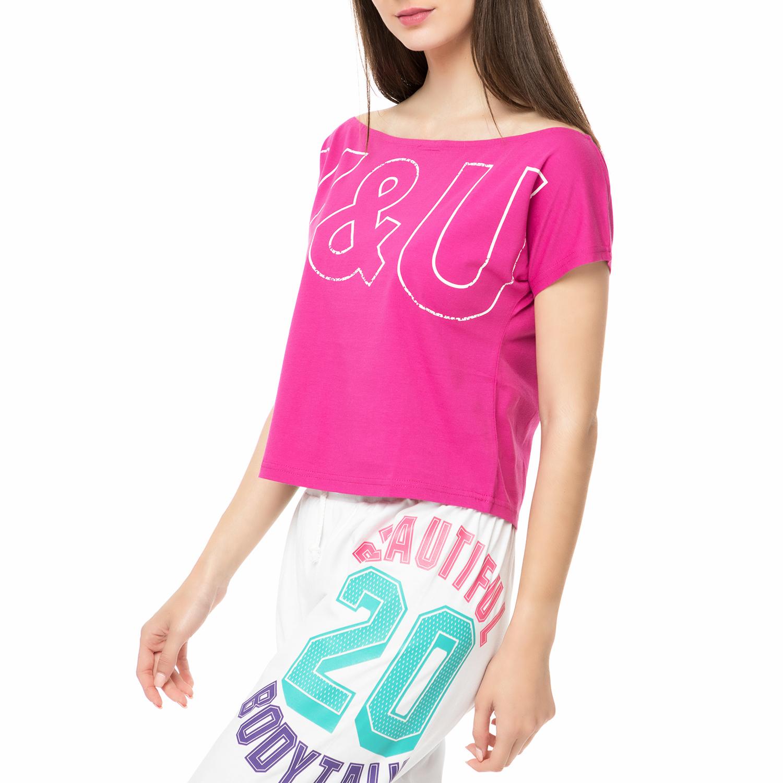 a603fcbbd08 BODYTALK - Γυναικεία κοντομάνικη μπλούζα YOGAWCROP φούξια, Γυναικεία ...