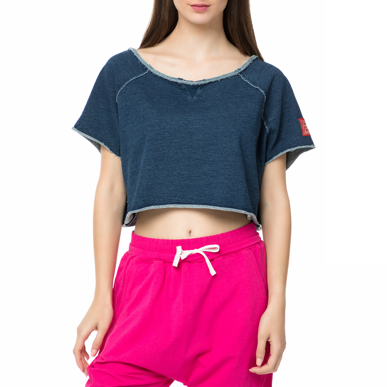 BODYTALK - Γυναικείο crop top DENIMW FAME TOP μπλε γυναικεία ρούχα αθλητικά t shirt τοπ