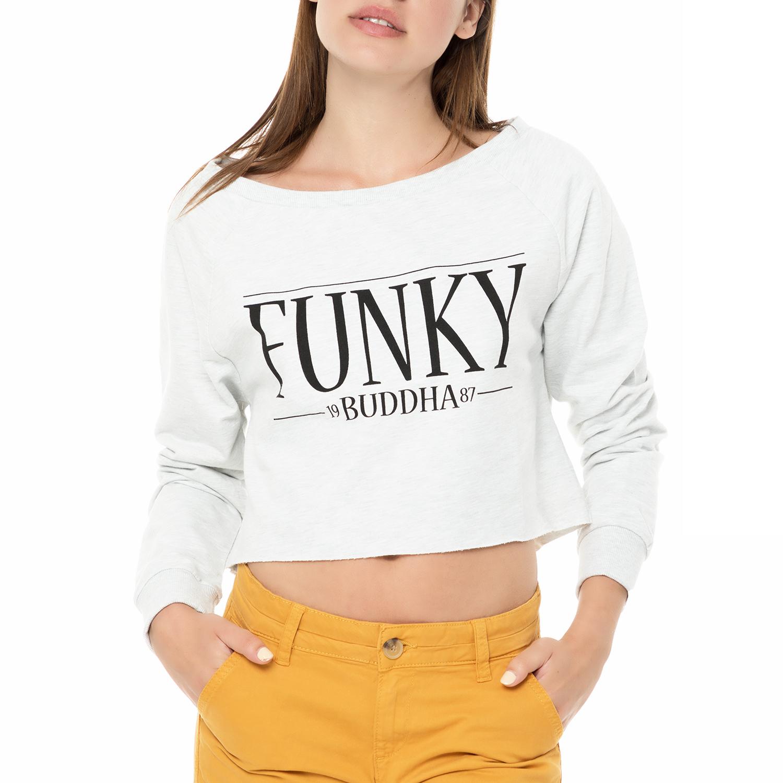 5e60996e57d8 FUNKY BUDDHA – Γυναικείο κοντό φούτερ Γυναικείο κοντό φούτερ γκρι μελανζέ. Factory  Outlet