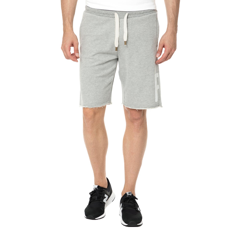 FUNKY BUDDHA - Ανδρική βερμούδα FUNKY BUDDHA γκρι ανδρικά ρούχα σορτς βερμούδες casual jean