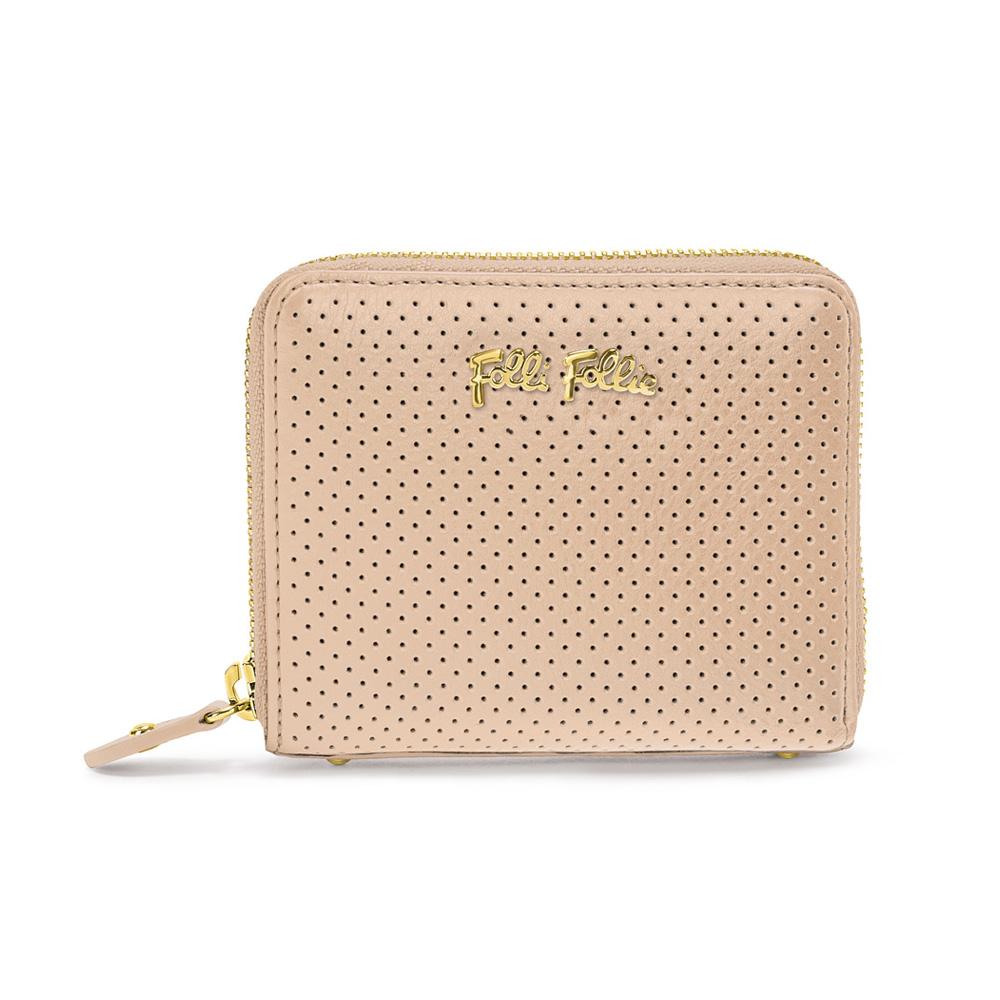 FOLLI FOLLIE - Γυναικείο μικτό πορτοφόλι με φερμουάρ FOLLI FOLLIE μπεζ γυναικεία αξεσουάρ πορτοφόλια μπρελόκ πορτοφόλια