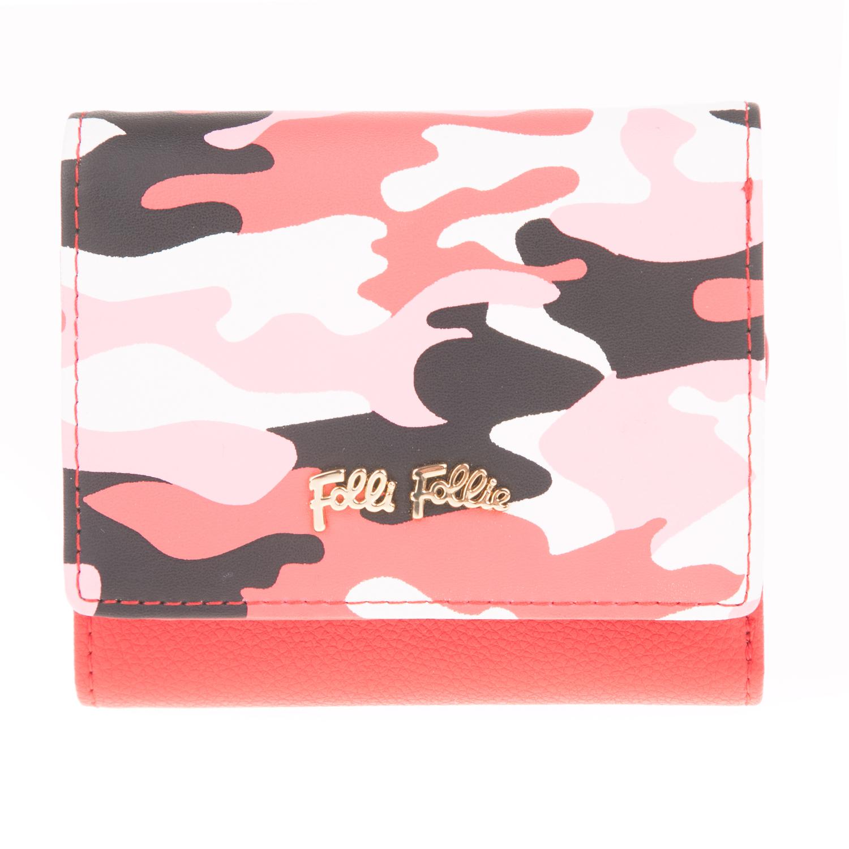 FOLLI FOLLIE - Γυναικείο αναδιπλούμενο πορτοφόλι FOLLI FOLLIE REBEL RIVIERA κόκκ γυναικεία αξεσουάρ πορτοφόλια μπρελόκ πορτοφόλια