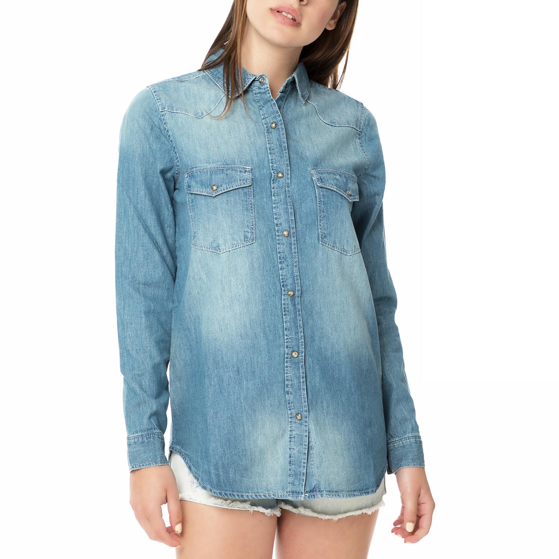 c88edd087df5 FUNKY BUDDHA - Γυναικείο τζιν πουκάμισο FUNKY BUDDHA μπλε