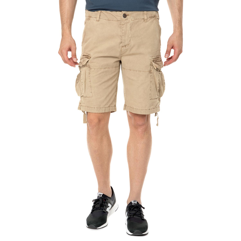 FUNKY BUDDHA - Ανδρική cargo βερμούδα FUNKY BUDDHA μπεζ ανδρικά ρούχα σορτς βερμούδες casual jean