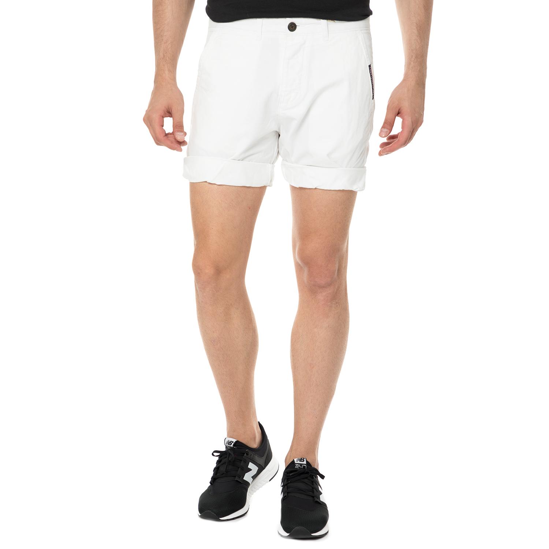 FUNKY BUDDHA - Ανδρική chino βερμούδα FUNKY BUDDHA λευκή ανδρικά ρούχα σορτς βερμούδες casual jean