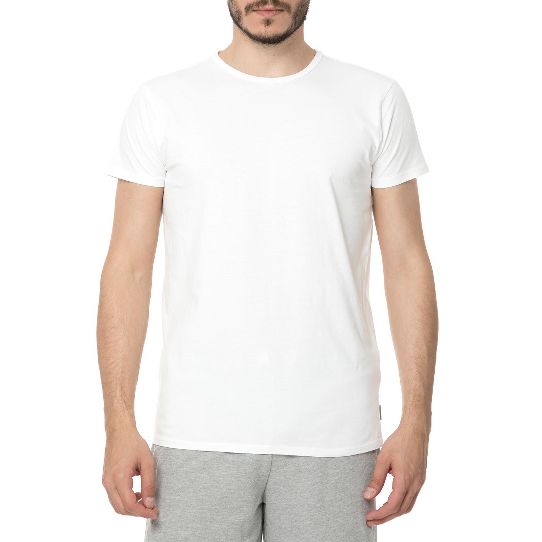 FUNKY BUDDHA - Ανδρική κοντομάνικη μπλούζα FUNKY BUDDHA λευκή ανδρικά ρούχα μπλούζες κοντομάνικες