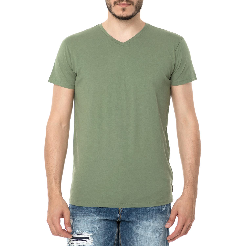 FUNKY BUDDHA - Ανδρική κοντομάνικη μπλούζα FUNKY BUDDHA πράσινη ανδρικά ρούχα μπλούζες κοντομάνικες