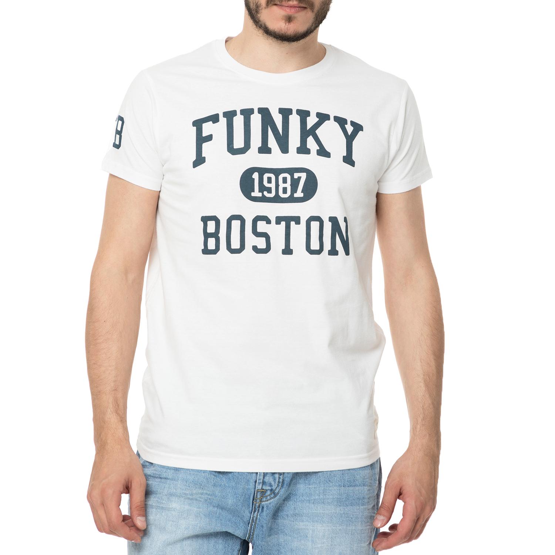 FUNKY BUDDHA - Ανδρική μπλούζα κοντομάνικη FUNKY BUDDHA λευκή ανδρικά ρούχα μπλούζες κοντομάνικες