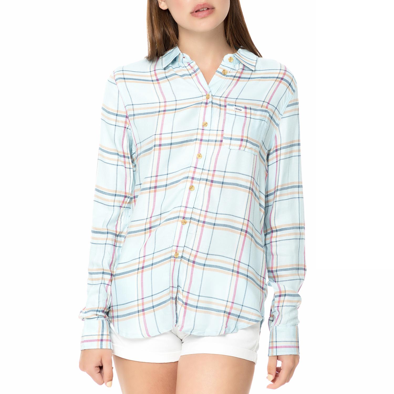 2fb21614aa9e Factoryoutlet FUNKY BUDDHA - Γυναικείο μακρυμάνικο πουκάμισο FUNKY BUDDHA  γαλάζιο με καρό μοτίβο