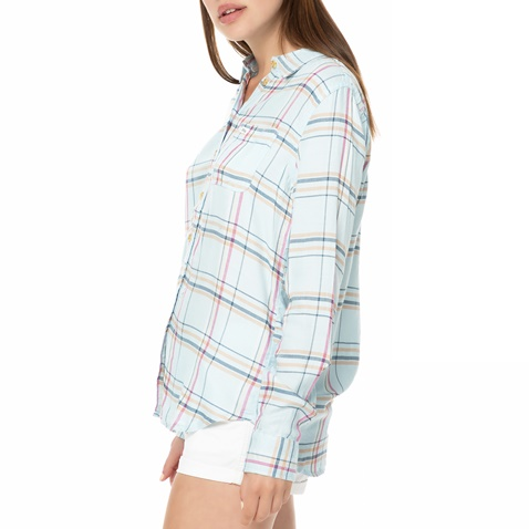 ac1422976118 Γυναικείο μακρυμάνικο πουκάμισο FUNKY BUDDHA γαλάζιο με καρό μοτίβο ...