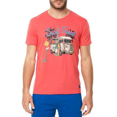 895ea4833c7c Ανδρική κοντομάνικη μπλούζα BATTERY κοραλλί με στάμπα (1680912.0-f100)