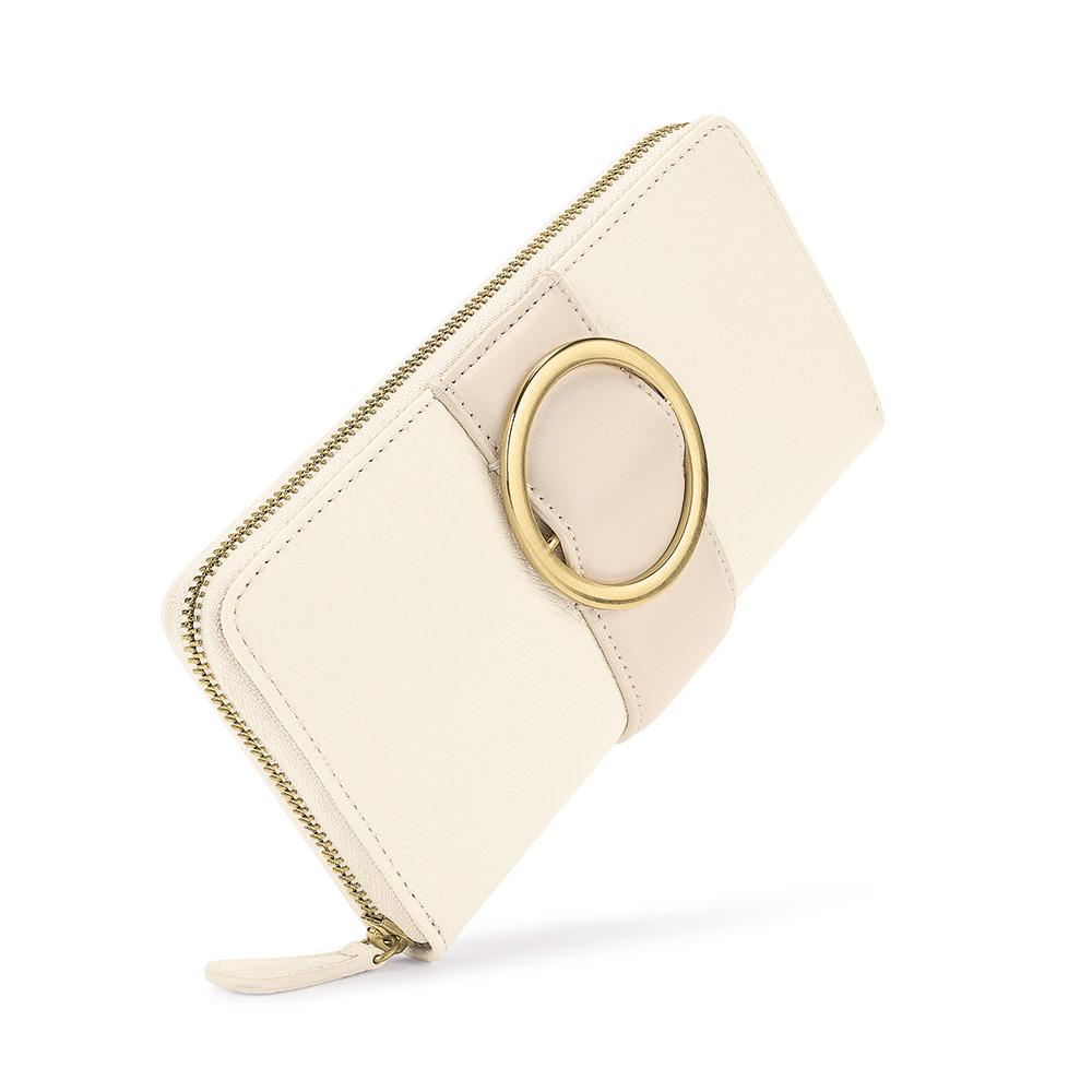 FOLLI FOLLIE - Γυναικείο μεγάλο πορτοφόλι με φερμουάρ FOLLI FOLLIE εκρού γυναικεία αξεσουάρ πορτοφόλια μπρελόκ πορτοφόλια