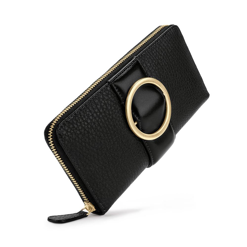FOLLI FOLLIE - Γυναικείο μεγάλο πορτοφόλι με φερμουάρ FOLLI FOLLIE μαύρο γυναικεία αξεσουάρ πορτοφόλια μπρελόκ πορτοφόλια