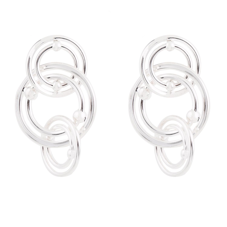FOLLI FOLLIE - Γυναικεία επάργυρα μακριά σκουλαρίκια με κρίκους FOLLI FOLLIE BONDS ασημί