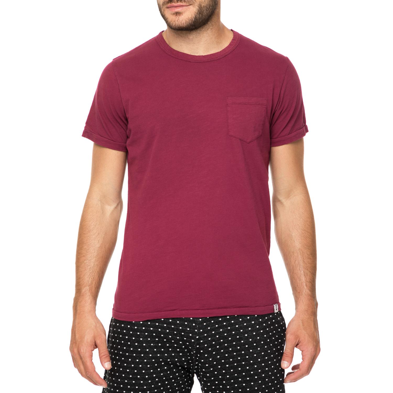 e8b0059dd449 HAMPTONS - Ανδρικό t-shirt HAMPTONS FLAMMED POCKET μπορντό