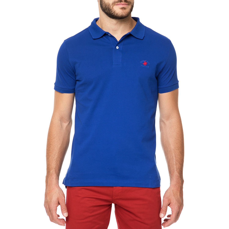 BEVERLY HILLS POLO CLUB - Ανδρικό πόλο t-shirt MAGLIA μπλε royal ανδρικά ρούχα μπλούζες πόλο