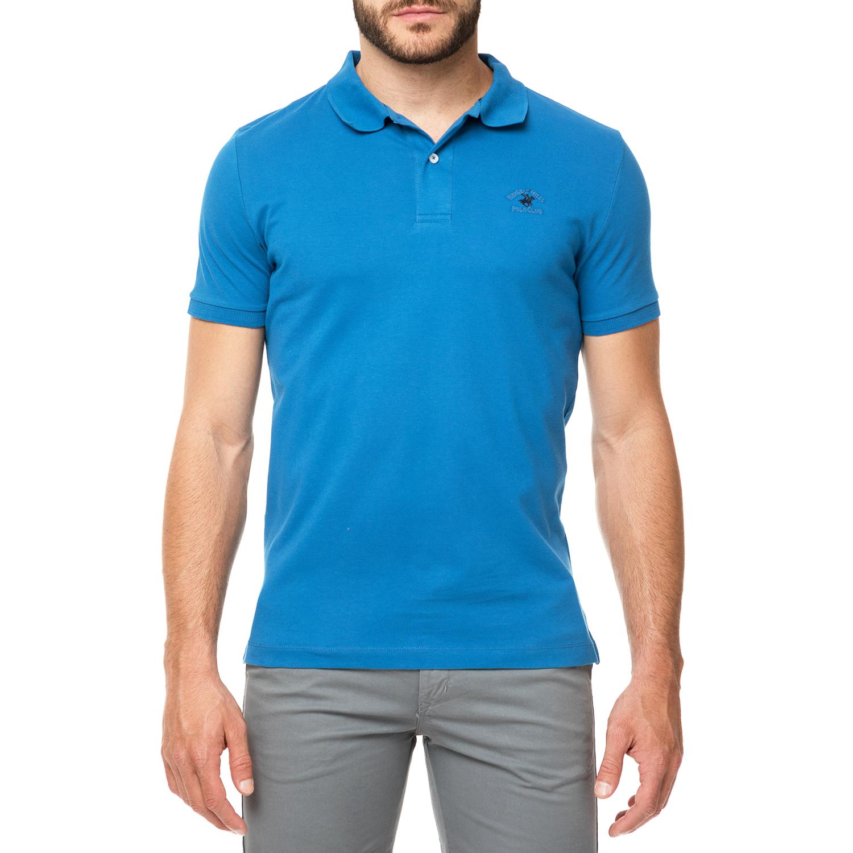 BEVERLY HILLS POLO CLUB - Ανδρικό πόλο t-shirt MAGLIA γαλάζιο ανδρικά ρούχα μπλούζες πόλο