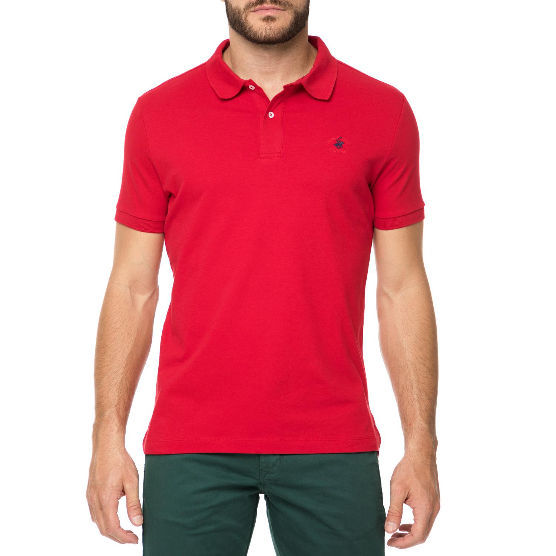 BEVERLY HILLS POLO CLUB - Ανδρικό πόλο t-shirt MAGLIA κόκκινο