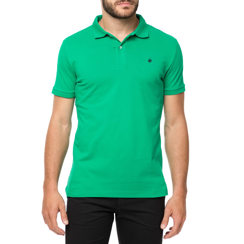 BEVERLY HILLS POLO CLUB - Ανδρικό πόλο t-shirt MAGLIA POLO πράσινο ανδρικά ρούχα μπλούζες πόλο