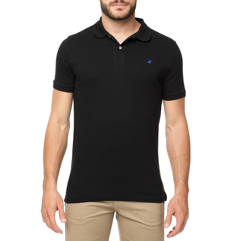 BEVERLY HILLS POLO CLUB - Ανδρικό πόλο t-shirt MAGLIA μαύρο ανδρικά ρούχα μπλούζες πόλο