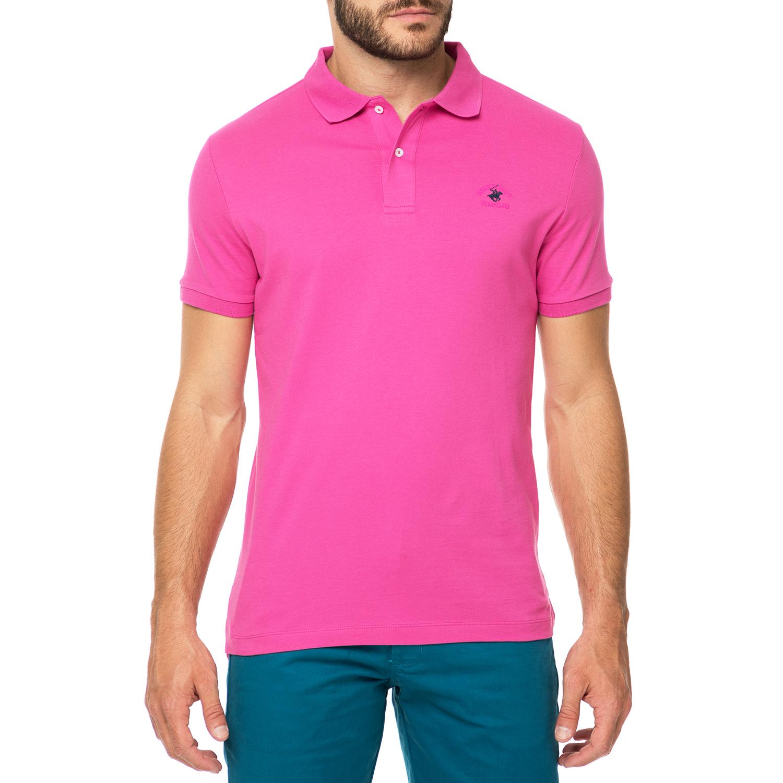 BEVERLY HILLS POLO CLUB - Ανδρικό πόλο t-shirt MAGLIA φούξια ανδρικά ρούχα μπλούζες πόλο