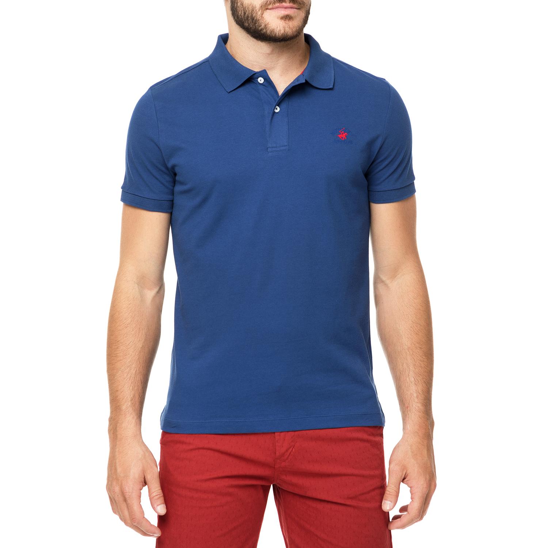 BEVERLY HILLS POLO CLUB - Ανδρικό πόλο t-shirt MAGLIA μπλε