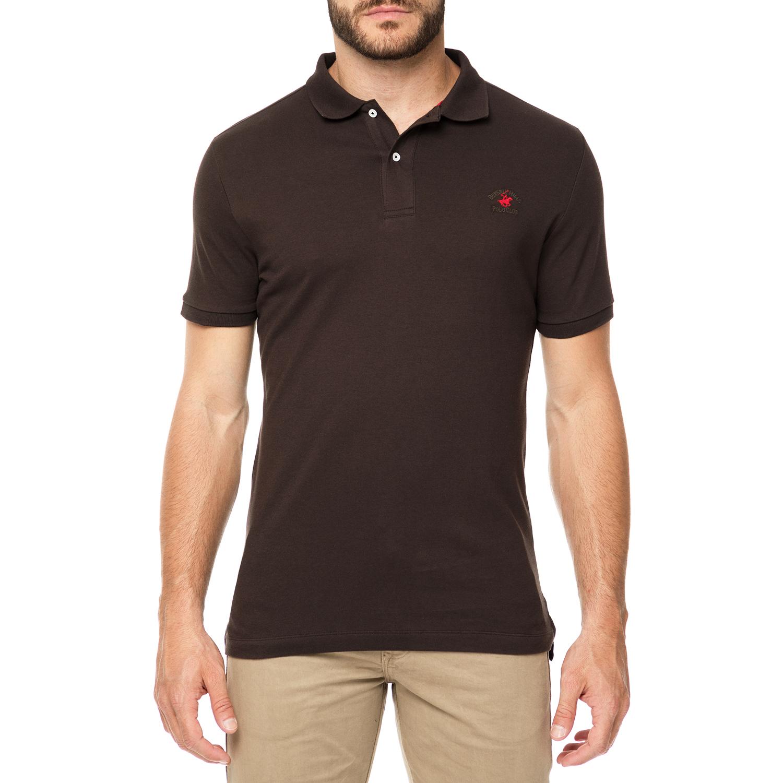 BEVERLY HILLS POLO CLUB - Ανδρικό πόλο t-shirt MAGLIA καφέ ανδρικά ρούχα μπλούζες πόλο