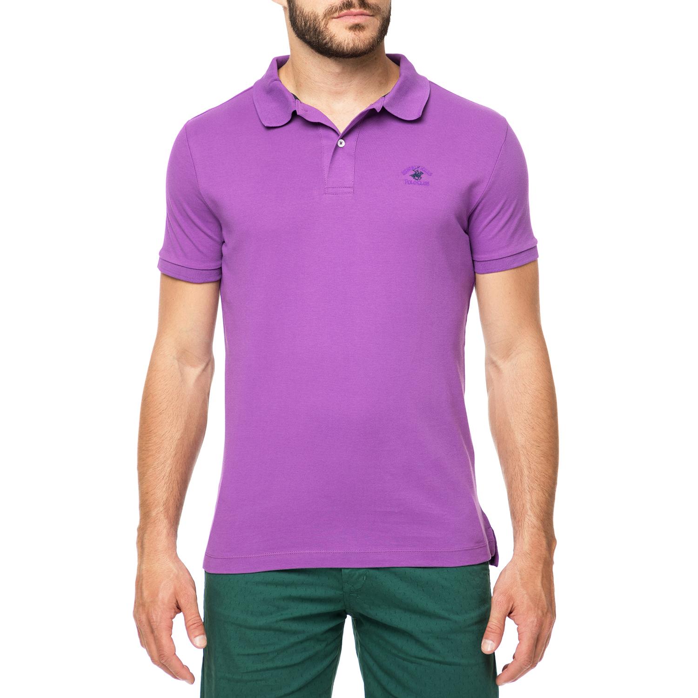 BEVERLY HILLS POLO CLUB - Ανδρικό πόλο t-shirt MAGLIA μοβ ανδρικά ρούχα μπλούζες πόλο