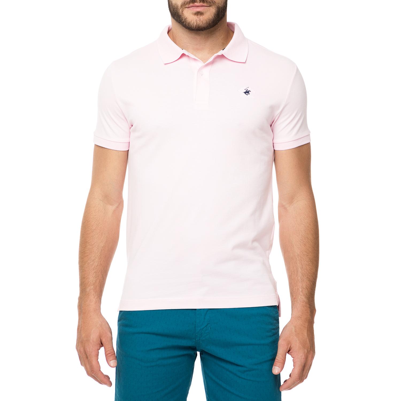 BEVERLY HILLS POLO CLUB - Ανδρικό πόλο t-shirt MAGLIA ροζ