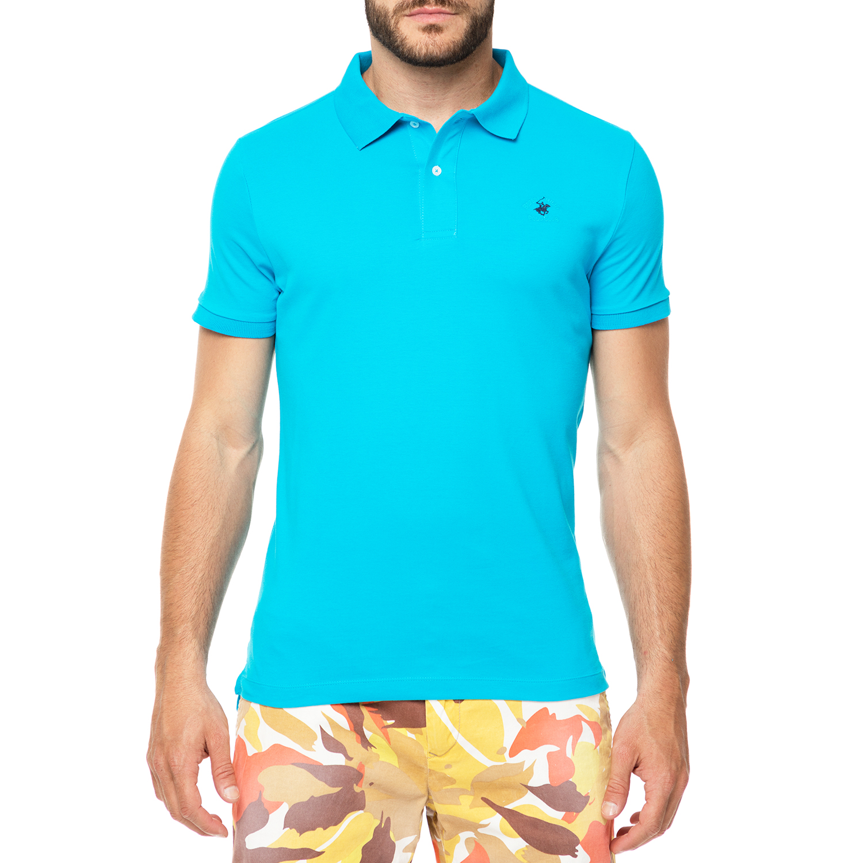 BEVERLY HILLS POLO CLUB - Ανδρικό πόλο t-shirt MAGLIA τιρκουάζ ανδρικά ρούχα μπλούζες πόλο