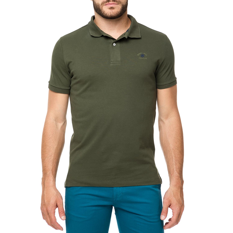 BEVERLY HILLS POLO CLUB - Ανδρικό πόλο t-shirt MAGLIA χακί ανδρικά ρούχα μπλούζες πόλο