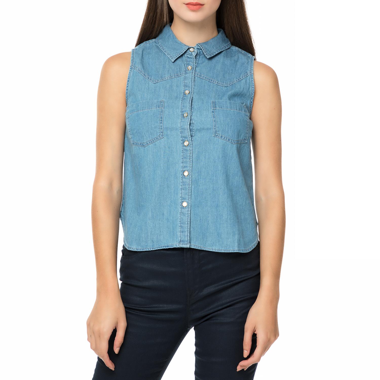 629c51004279 FUNKY BUDDHA – Γυναικείο αμάνικο τζιν πουκάμισο FUNKY BUDDHA μπλε. Factory  Outlet