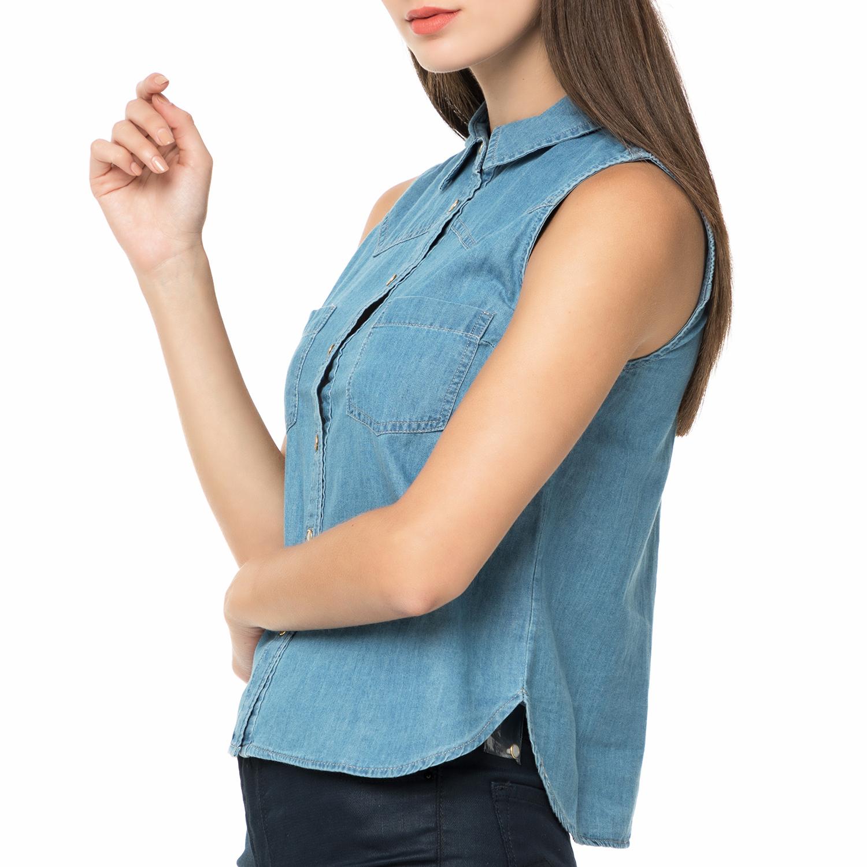 b4ef3f26aa38 FUNKY BUDDHA - Γυναικείο αμάνικο τζιν πουκάμισο FUNKY BUDDHA μπλε ...