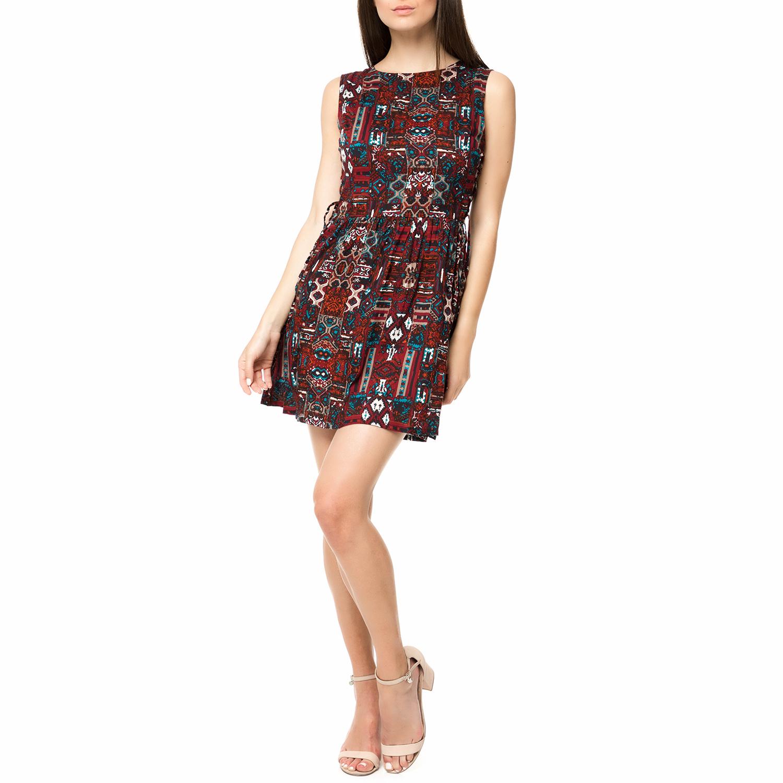 120a69f6571f FUNKY BUDDHA - Γυναικείο μίνι φόρεμα FUNKY BUDDHA μπορντό με aztec μοτίβο