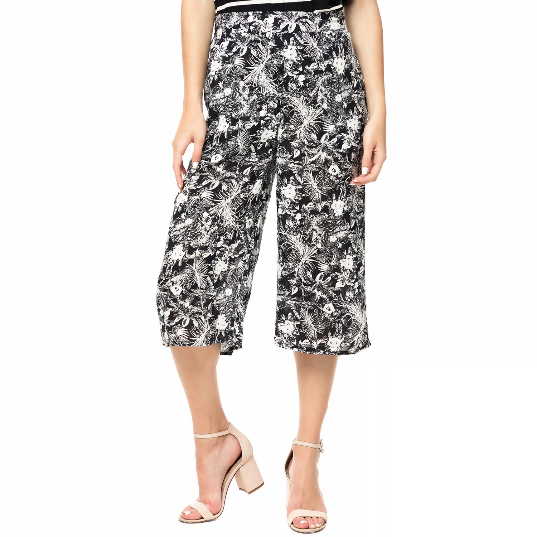FUNKY BUDDHA - Γυναικεία ζιπ κιλότ FUNKY BUDDHA απρόμαυρη φλοράλ γυναικεία ρούχα παντελόνια cropped