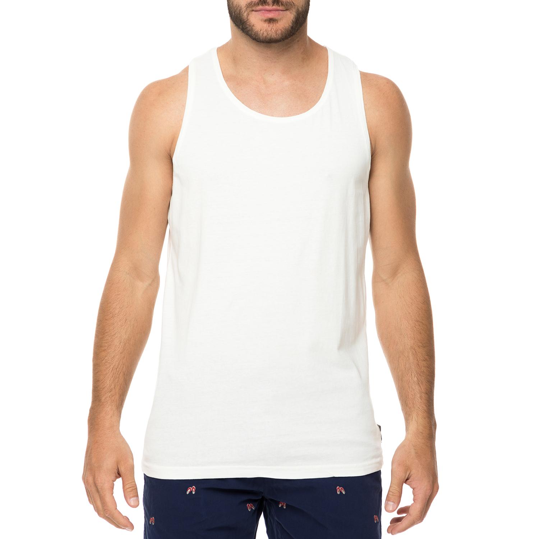 FUNKY BUDDHA - Ανδρική αμάνικη μπλούζα FUNKY BUDDHA λευκή ανδρικά ρούχα μπλούζες αμάνικες