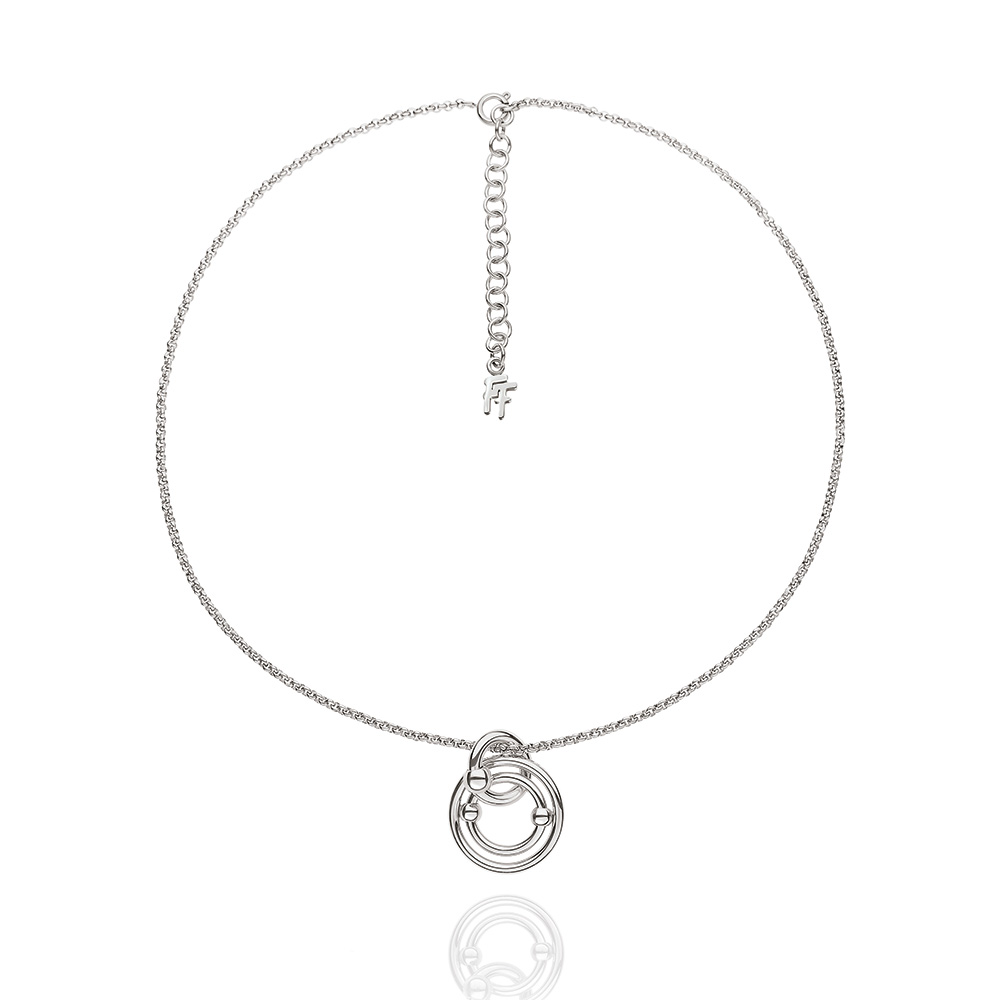 FOLLI FOLLIE - Γυναικείο επάργυρο κοντό κολιέ με κρίκους Folli Follie BONDS ασημ γυναικεία αξεσουάρ κοσμήματα κολιέ