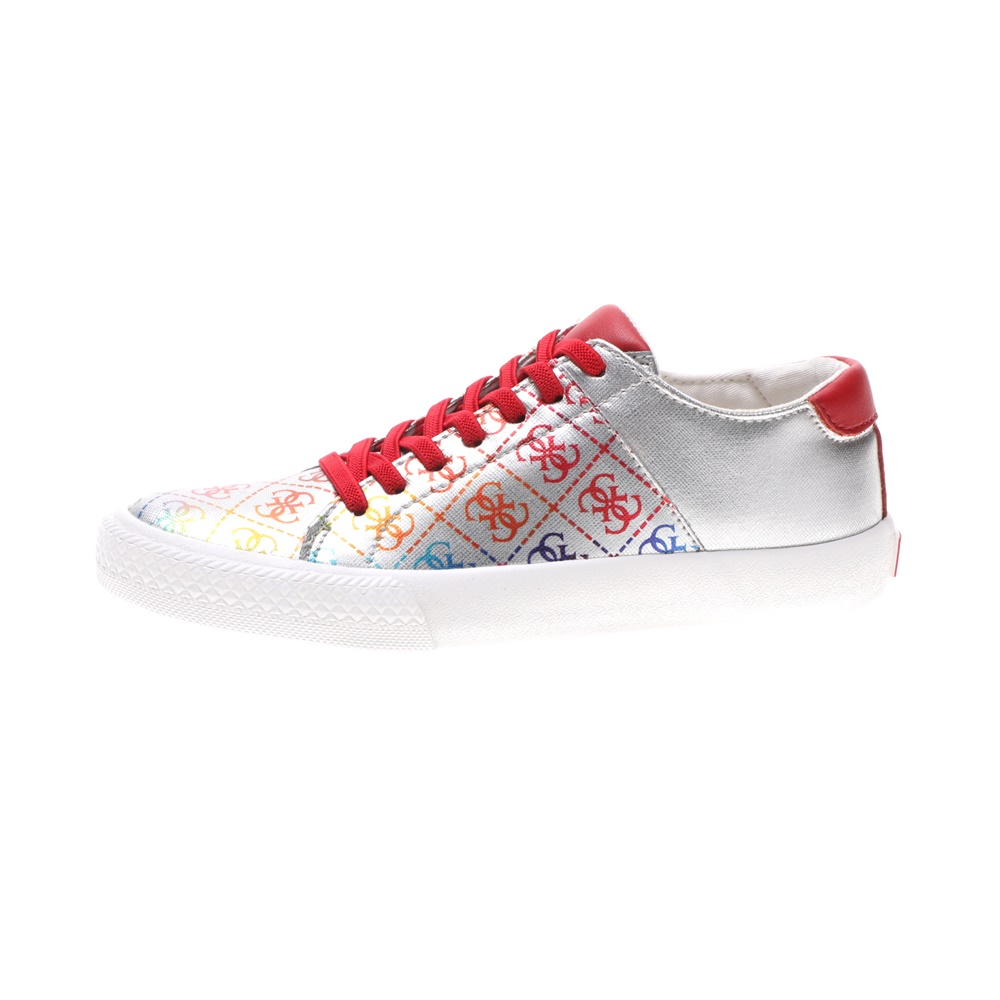 GUESS KIDS – Παιδικά sneakers GUESS KIDS LARA LOW ασημί κόκκινα