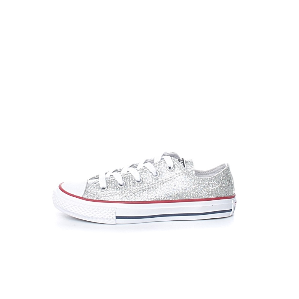 CONVERSE – Παιδικά sneakers με glitter CONVERSE Chuck Taylor All Star ασημί