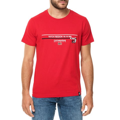 cf293d56700b Ανδρική κοντομάνικη μπλούζα CATAMARAN SAILWEAR κόκκινη (1688102.0-0201)