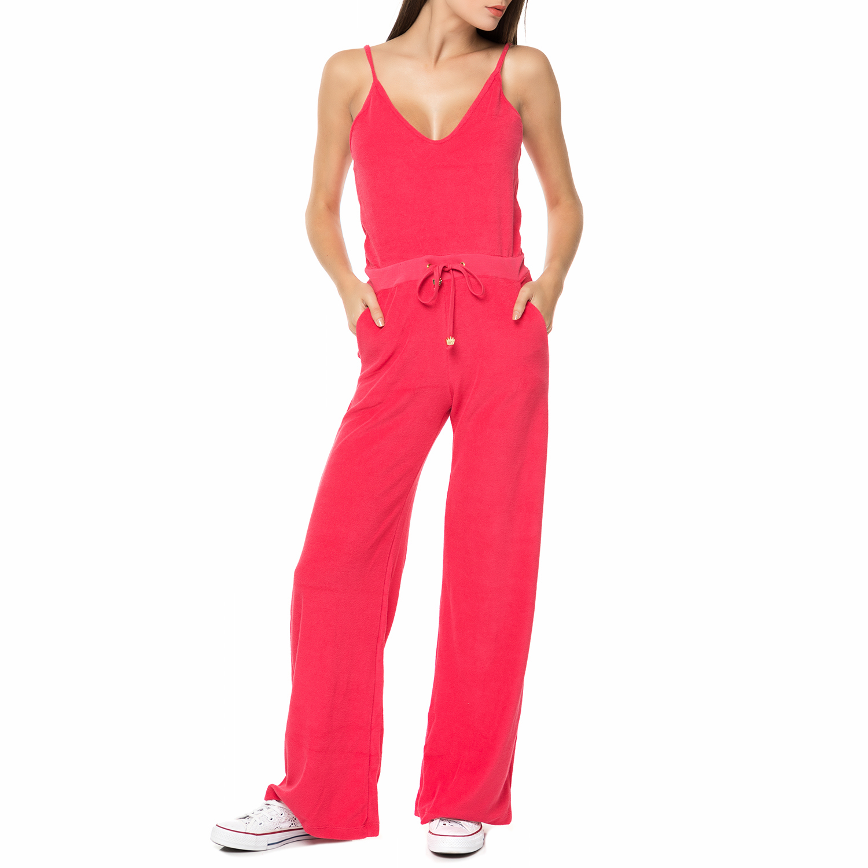 MYMOO – Γυναικεία πετσετέ ολόσωμη φόρμα με τιράντες MYMOO κοραλί 87f19d79ba8
