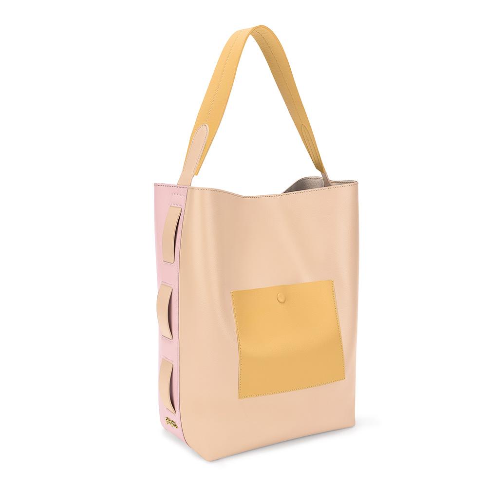 9ea5dcfed7 FOLLI FOLLIE – Γυναικεία μεγάλη τσάντα ώμου hobo FOLLI FOLLIE μπεζ-ροζ. Factory  Outlet