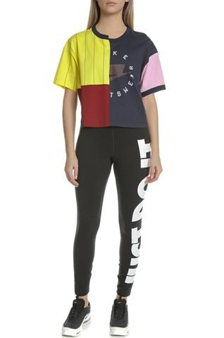 NIKE-Γυναικεία κοντομάνικη μπλούζα NIKE TOP μαύρη-κίτρινη
