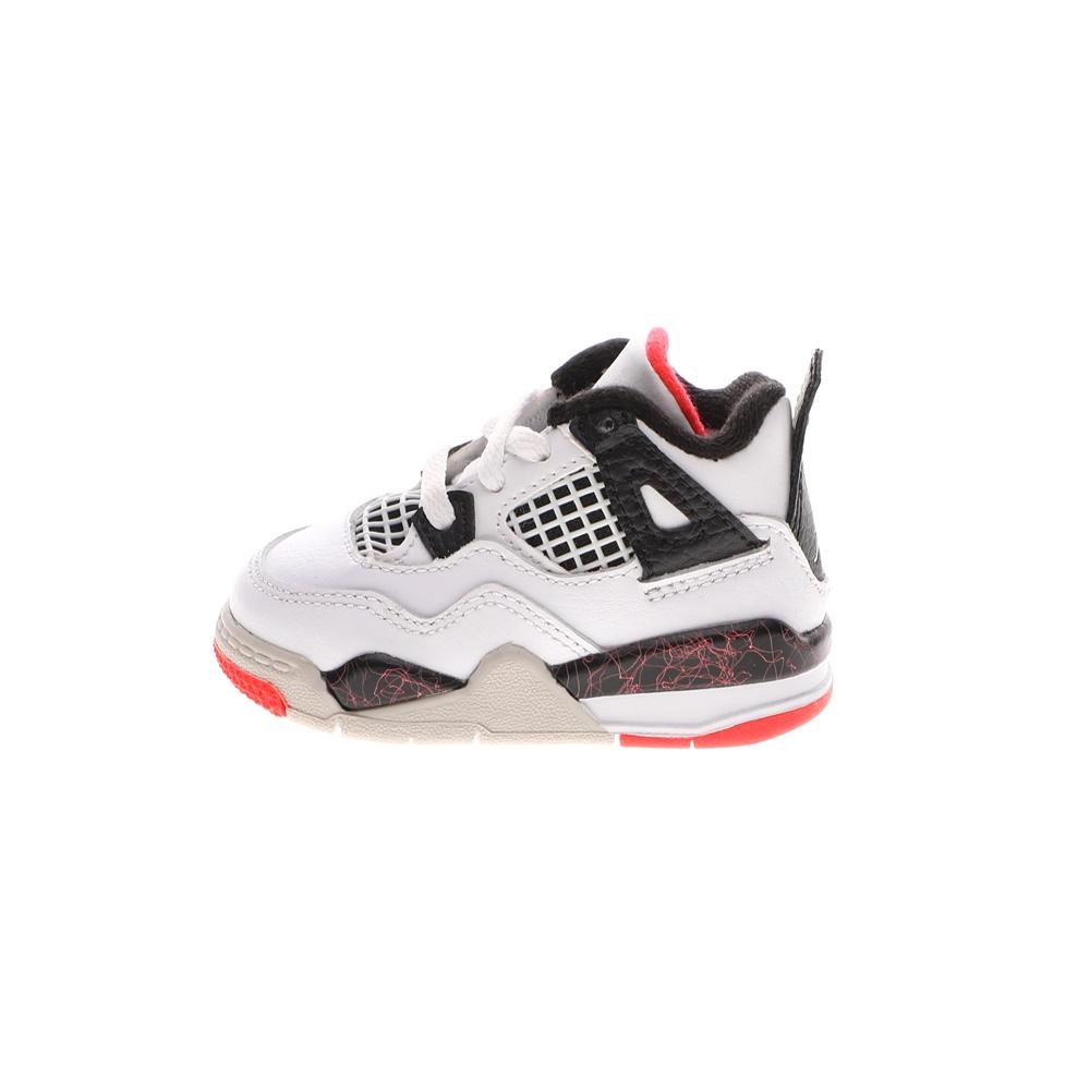 NIKE – Βρεφικά παπούτσια NIKE AIR JORDAN 4 RETRO (TD) λευκά μαύρα
