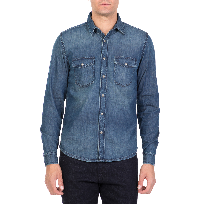 CALVIN KLEIN JEANS - Ανδρικό τζιν πουκάμισο CALVIN KLEIN JEANS μπλε ανδρικά ρούχα πουκάμισα μακρυμάνικα