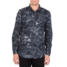 CALVIN KLEIN JEANS. Ανδρικό μακρυμάνικο πουκάμισο CALVIN KLEIN JEANS MARBLE  PRINT μαύρο bde1a28b3fc